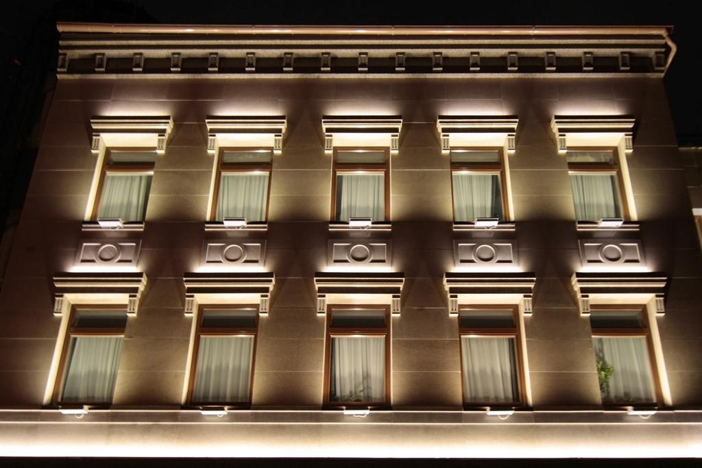 Architectural Lighting Of The Office Building Facade